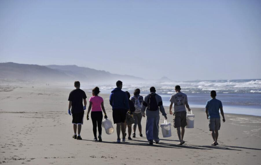 Volunteers participating in a beach cleaning project