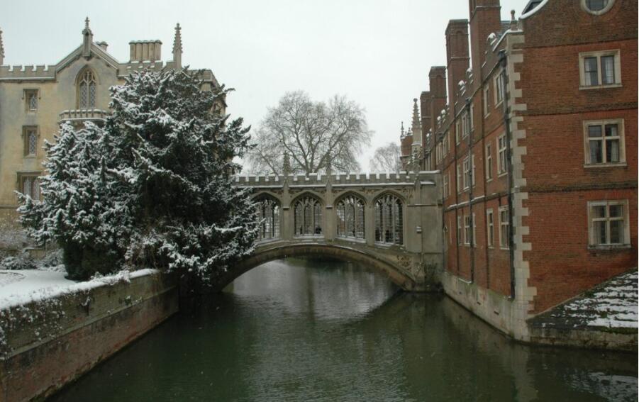 Cambridge University during winter